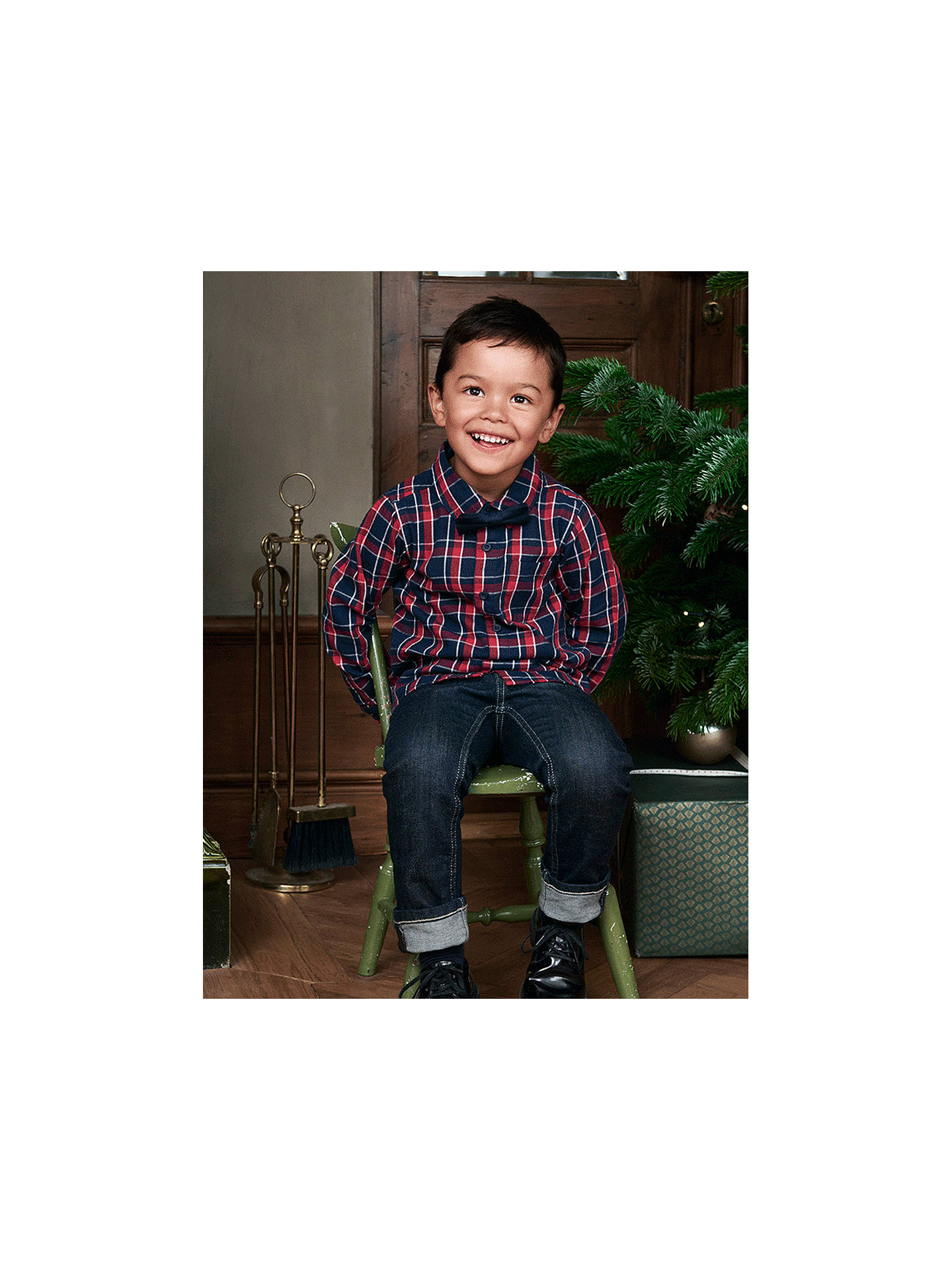 Buy Polarn O. Pyret Children's Organic Cotton Check Shirt, Blue, 8-9 years Online at johnlewis.com