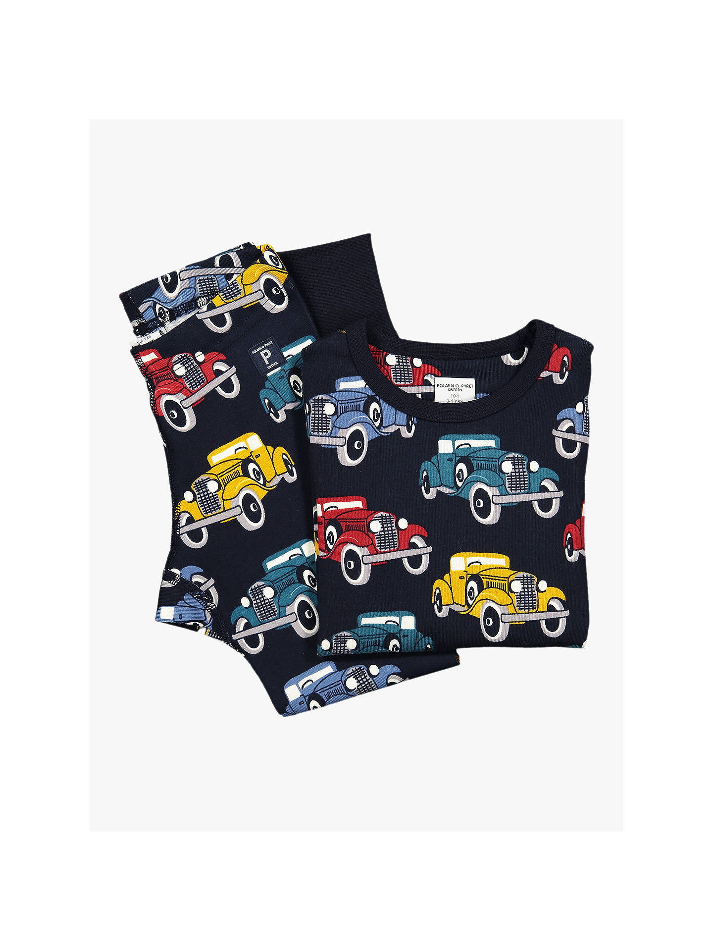 BuyPolarn O. Pyret Children's Car Print Top, Blue, 2-3 years Online at johnlewis.com