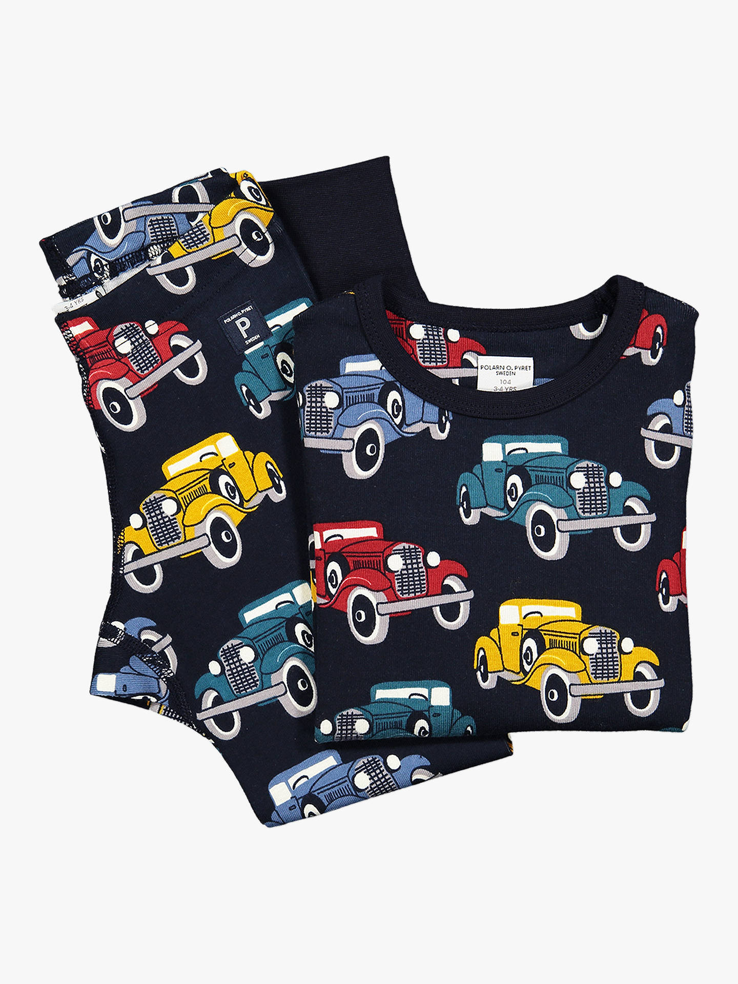 BuyPolarn O. Pyret Children's Car Print Leggings, Blue, 2-3 years Online at johnlewis.com