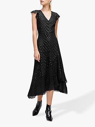 Warehouse Lurex Spot Midi Dress, Black