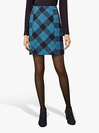 Hobbs Hattie Wool Mini Skirt, Blue Multi