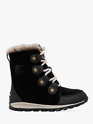 Sorel Children's Whitney Suede Snow Boots, Black/Dark Stone
