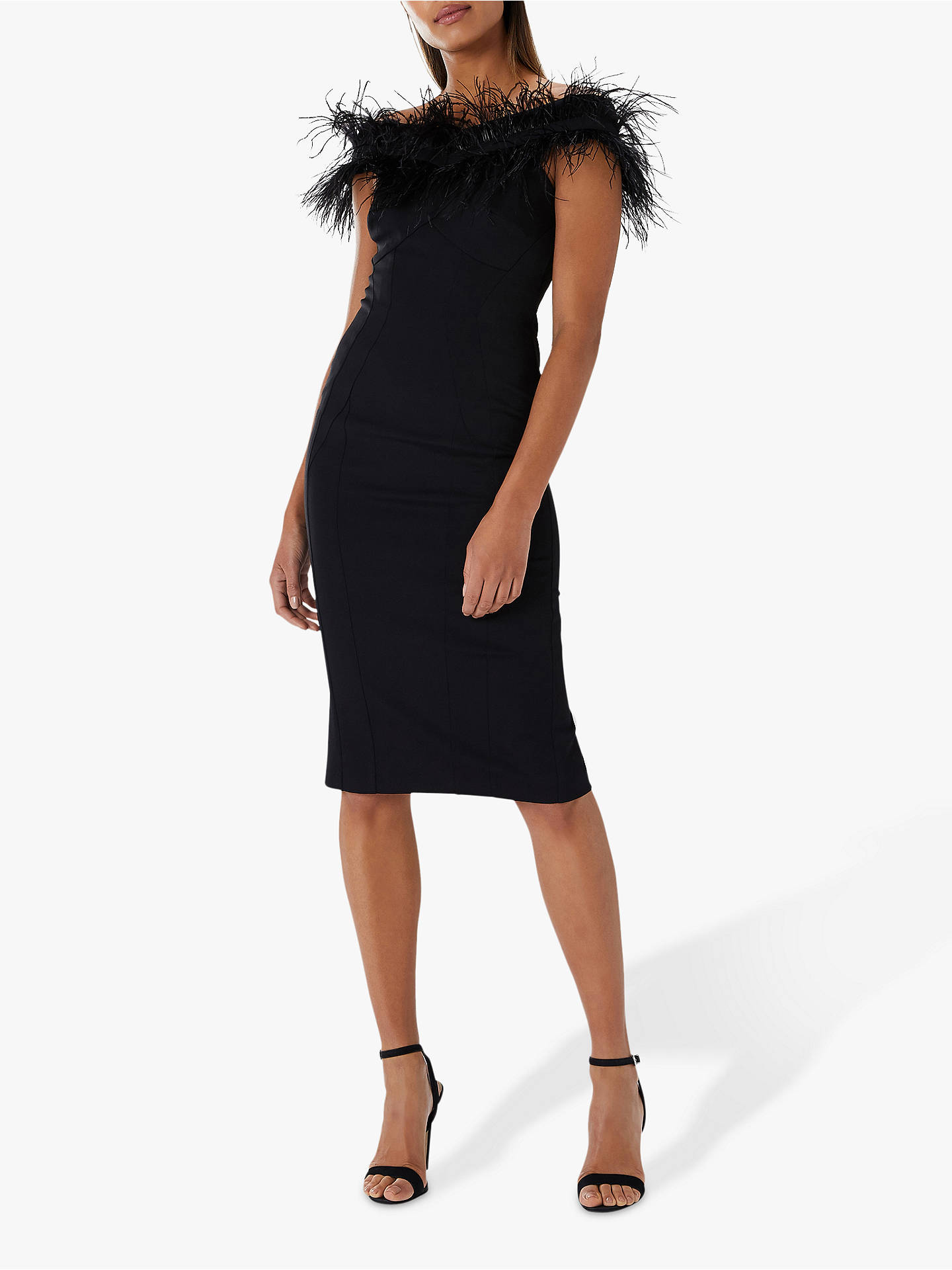 8c35b9e8bcbe6 Coast Holly Feather Cocktail Dress, Black at John Lewis & Partners