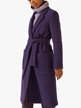 Jigsaw Narrow Belted Coat, Purple