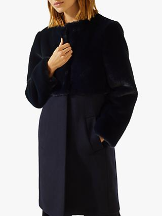 Jigsaw Demi Faux Fur Coat, Navy
