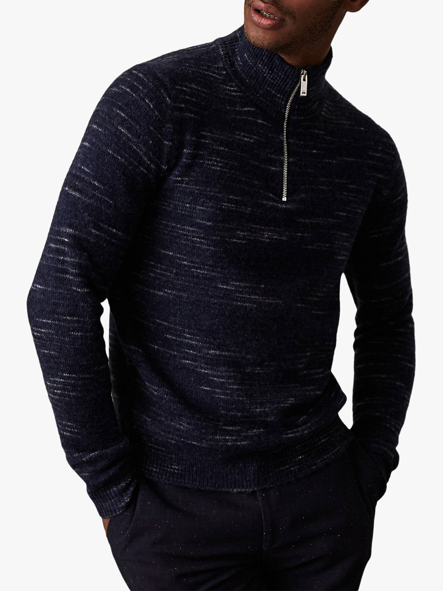 Buy Reiss Kinaird Space Dye Funnel Neck Jumper, Navy, XS Online at johnlewis.com