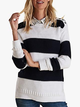 Barbour Fairway Block Stripe Jumper, Off White/Navy