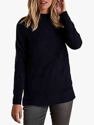 Barbour Portsdown Textured Knit Jumper, Navy