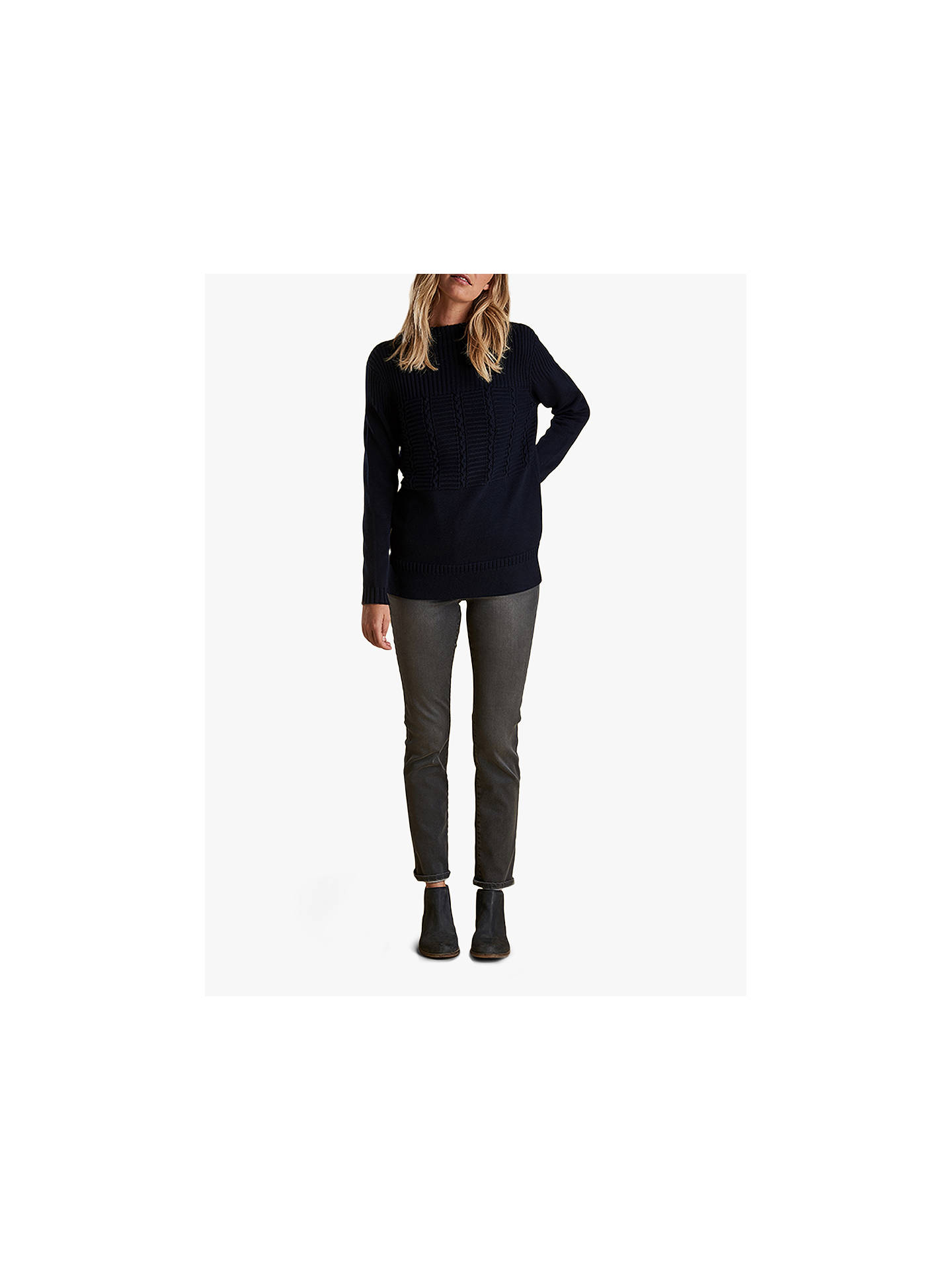 BuyBarbour Portsdown Textured Knit Jumper, Navy, 8 Online at johnlewis.com
