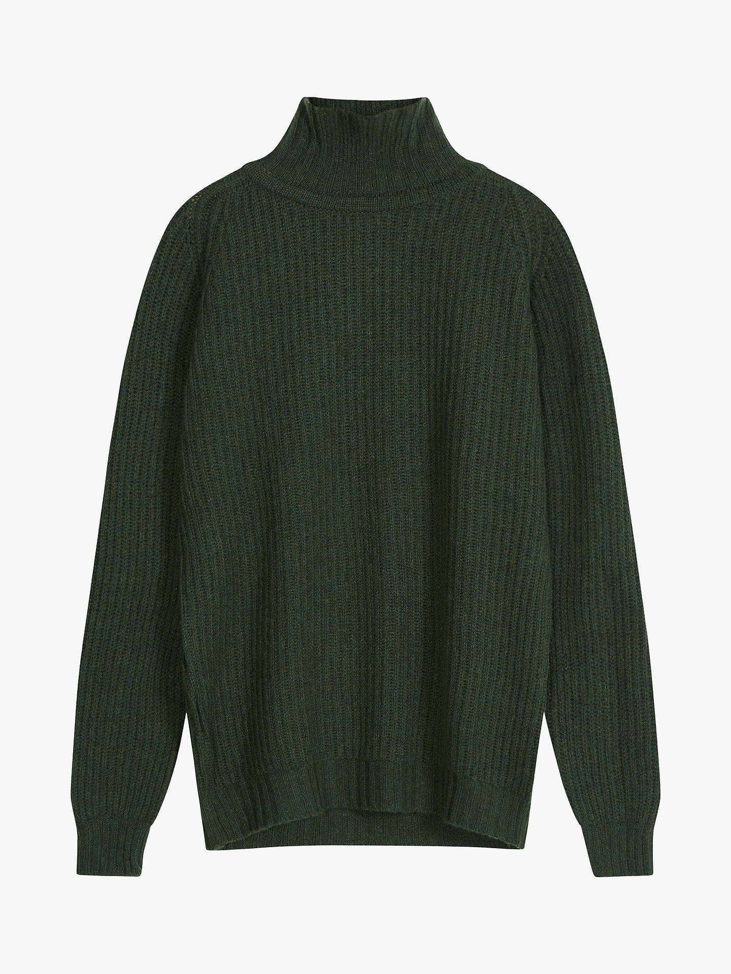 Buy Brora Cashmere Ribbed Polo Neck Jumper, Pine, 8-10 Online at johnlewis.com