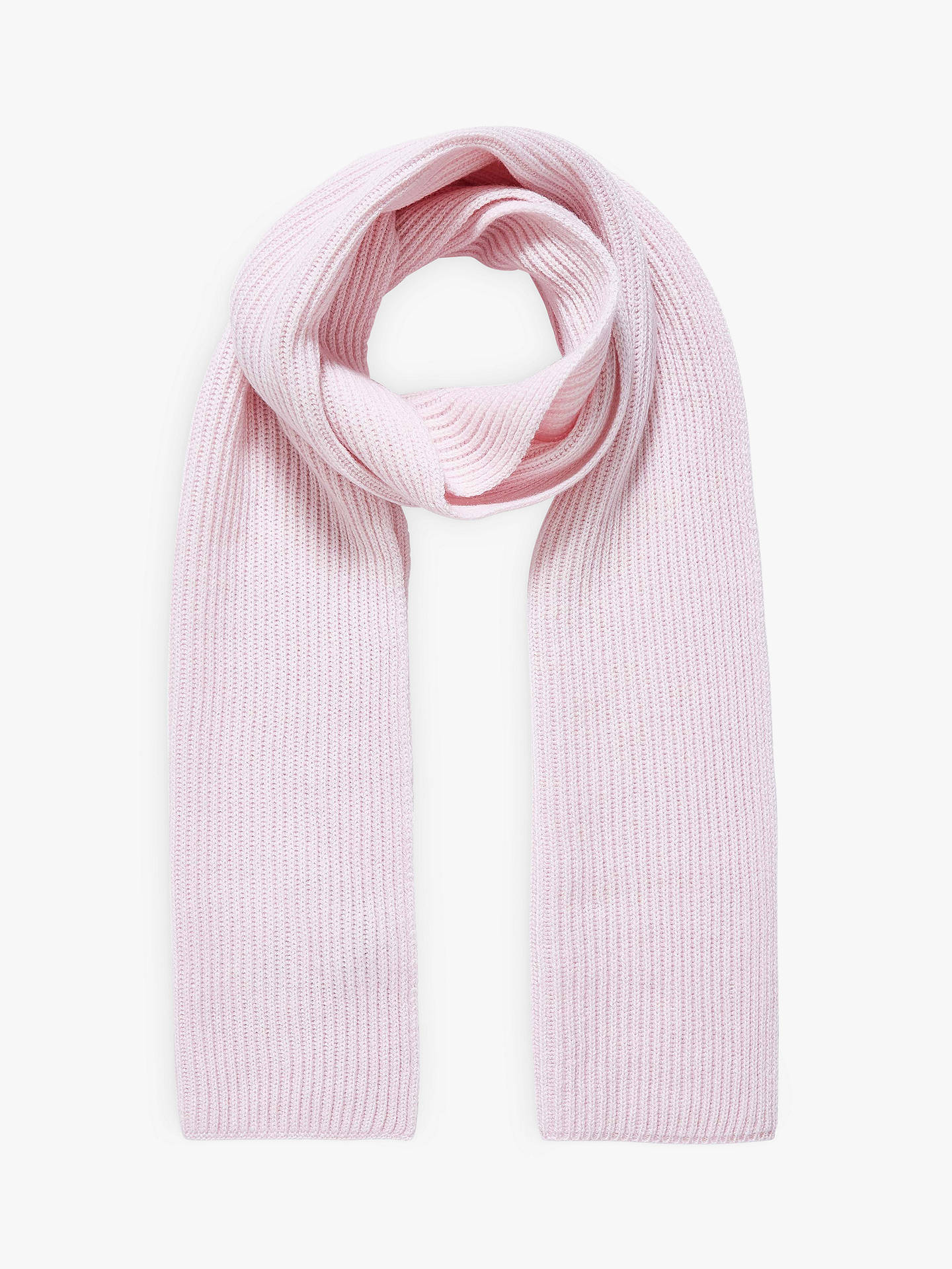 BuyBrora Rib Knit Cashmere Scarf, Tea Rose, One Size Online at johnlewis.com