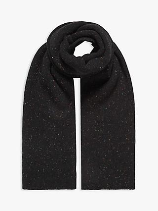Brora Cashmere Donegal Knit Scarf, Black