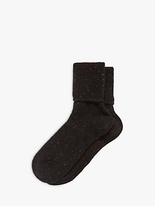 Brora Cashmere Donegal Socks, Black