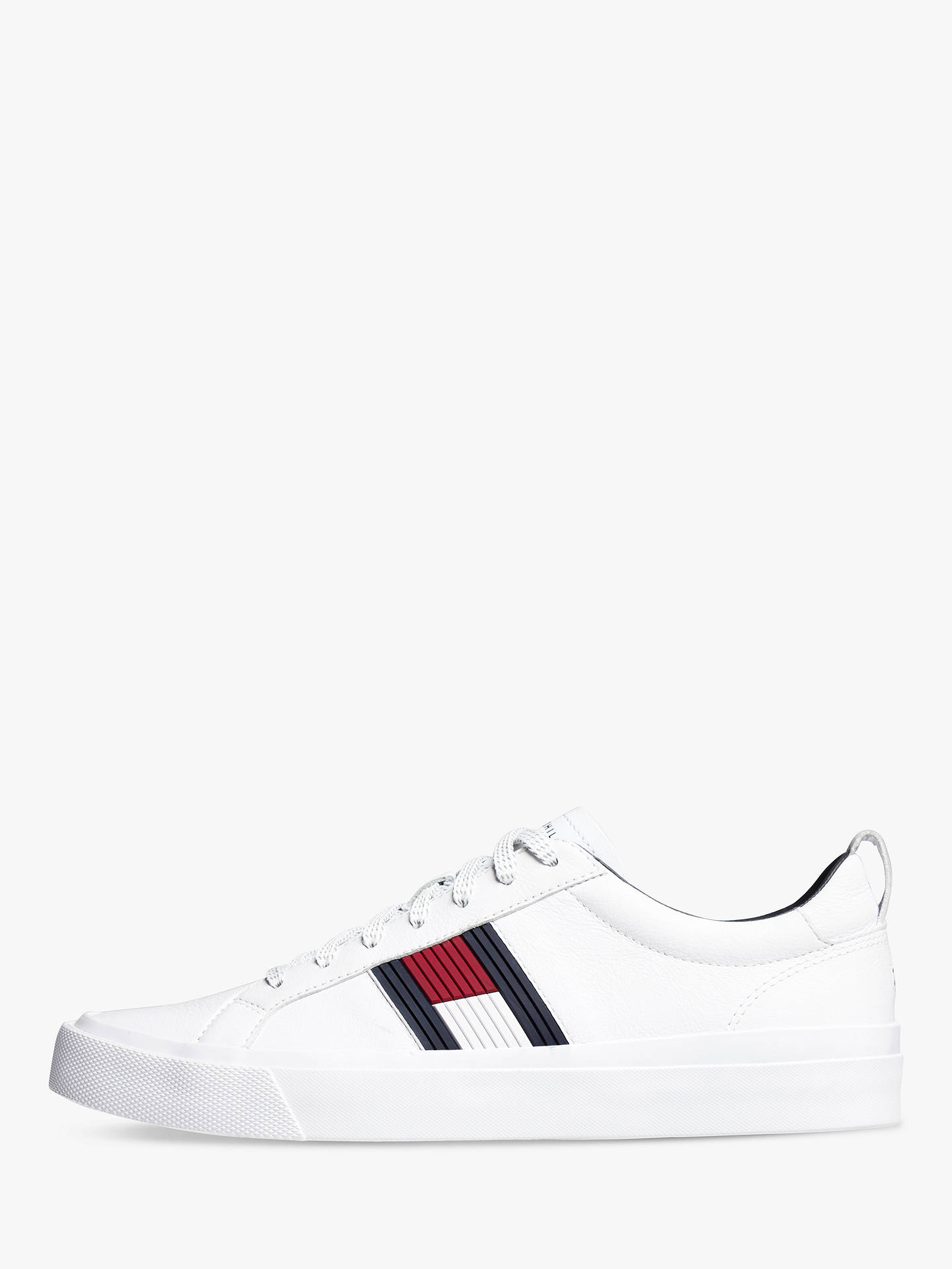 36d40d244 Buy Tommy Hilfiger Flag Detail Leather Trainers, White, 9 Online at  johnlewis.com