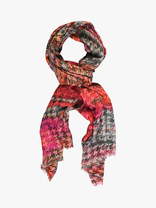 Chesca Houndstooth Scarf, Red/Grey