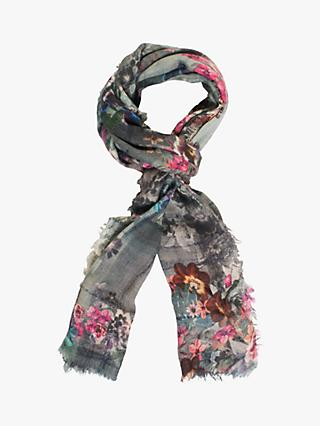 Chesca Flower Scarf, Grey/Multi