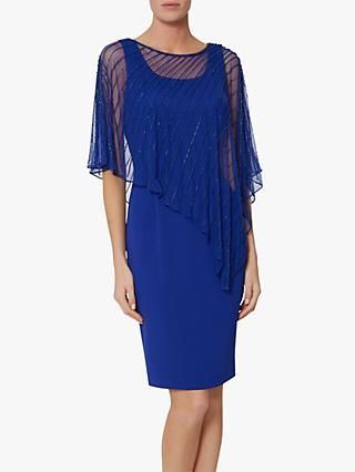 Gina Bacconi Keeley Crepe Cape Dress, Sapphire