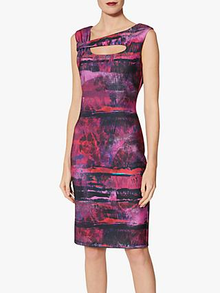 Gina Bacconi Mischa Paint Dress, Fuschia