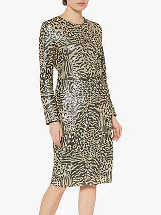 Gina Bacconi Ceri Abstract Animal Sequin Dress, Neutral