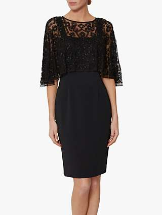 Gina Bacconi Laverna Beaded Cape Dress, Black