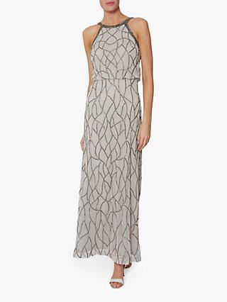 Gina Bacconi Zalenta Beaded Maxi Dress Silver
