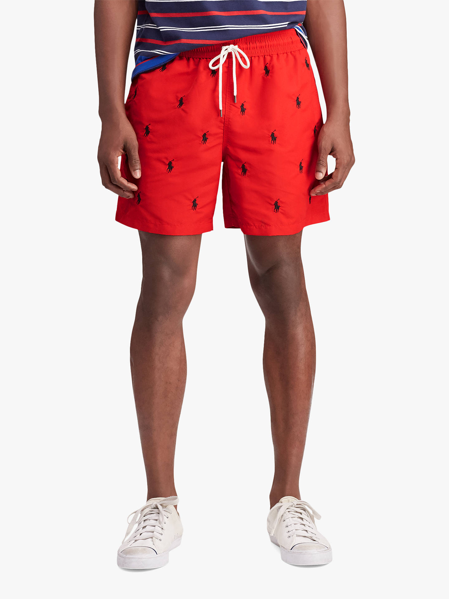 4ad8348c5f Buy Polo Ralph Lauren Logo Embossed Swim Shorts, Red, L Online at johnlewis.