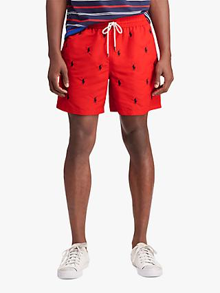 c44667ea Polo Ralph Lauren Logo Embossed Swim Shorts, Red