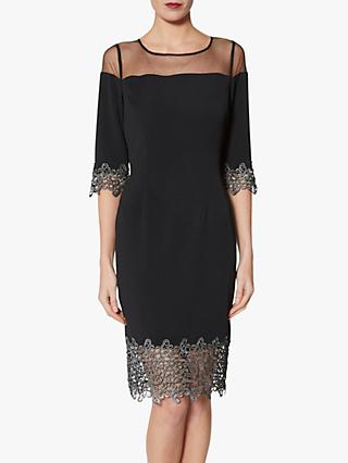 Gina Bacconi Pria Lace Trim Dress, Black