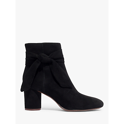 Madewell Esme Bow Suede Heeled Boots, True Black