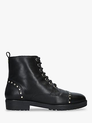 Carvela Steady Stud Lace Up Ankle Boots, Black Leather