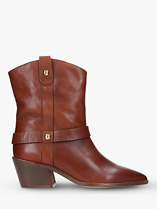 Carvela Sane Leather Stud Detail Ankle Boots, Brown Tan