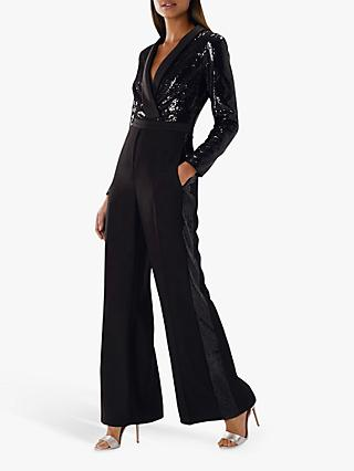 Coast Sequin Top Jumpsuit, Black