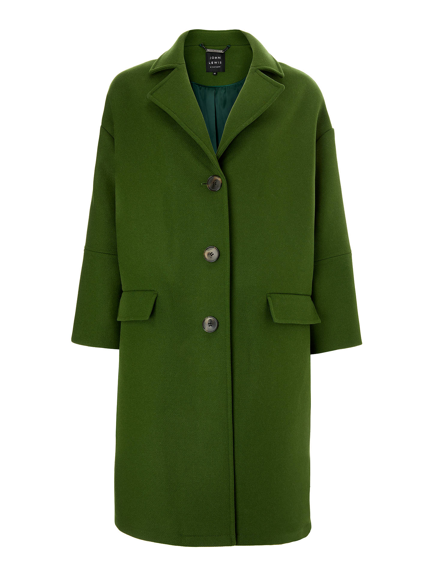 Buy John Lewis & Partners Bracelet Sleeve Coat, Jungle Green, 12 Online at johnlewis.com