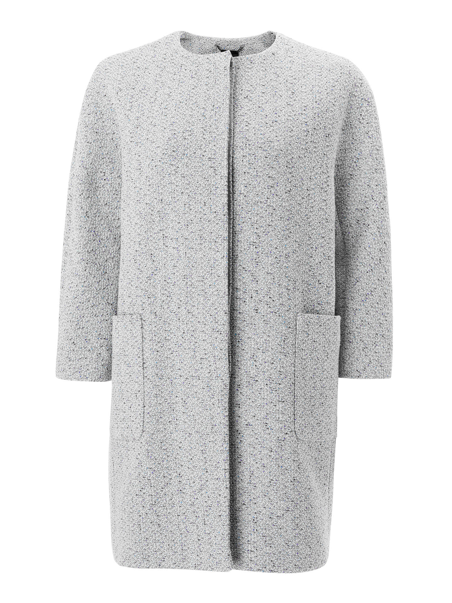 Buy John Lewis & Partners Collarless Textured Cocoon Coat, Blue, 10 Online at johnlewis.com