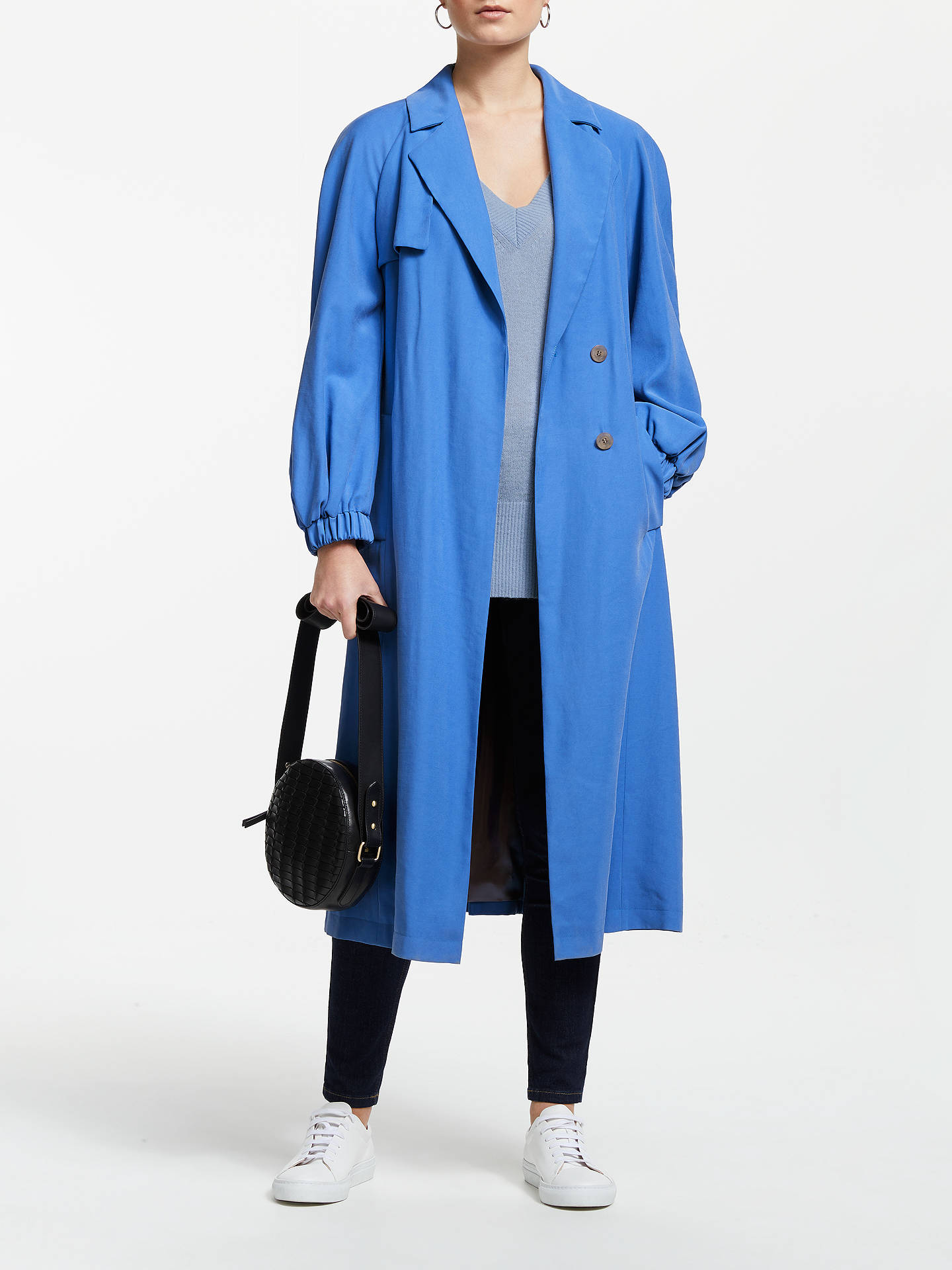 Buy John Lewis & Partners Elasticated Cuff Trench Coat, Ultramarine Blue, 14 Online at johnlewis.com