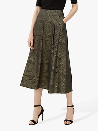 Jaeger Geometric Print Jacquard Skirt, Black/Gold