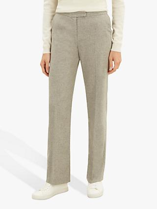 Jaeger Straight Leg Flannel Trousers, Grey