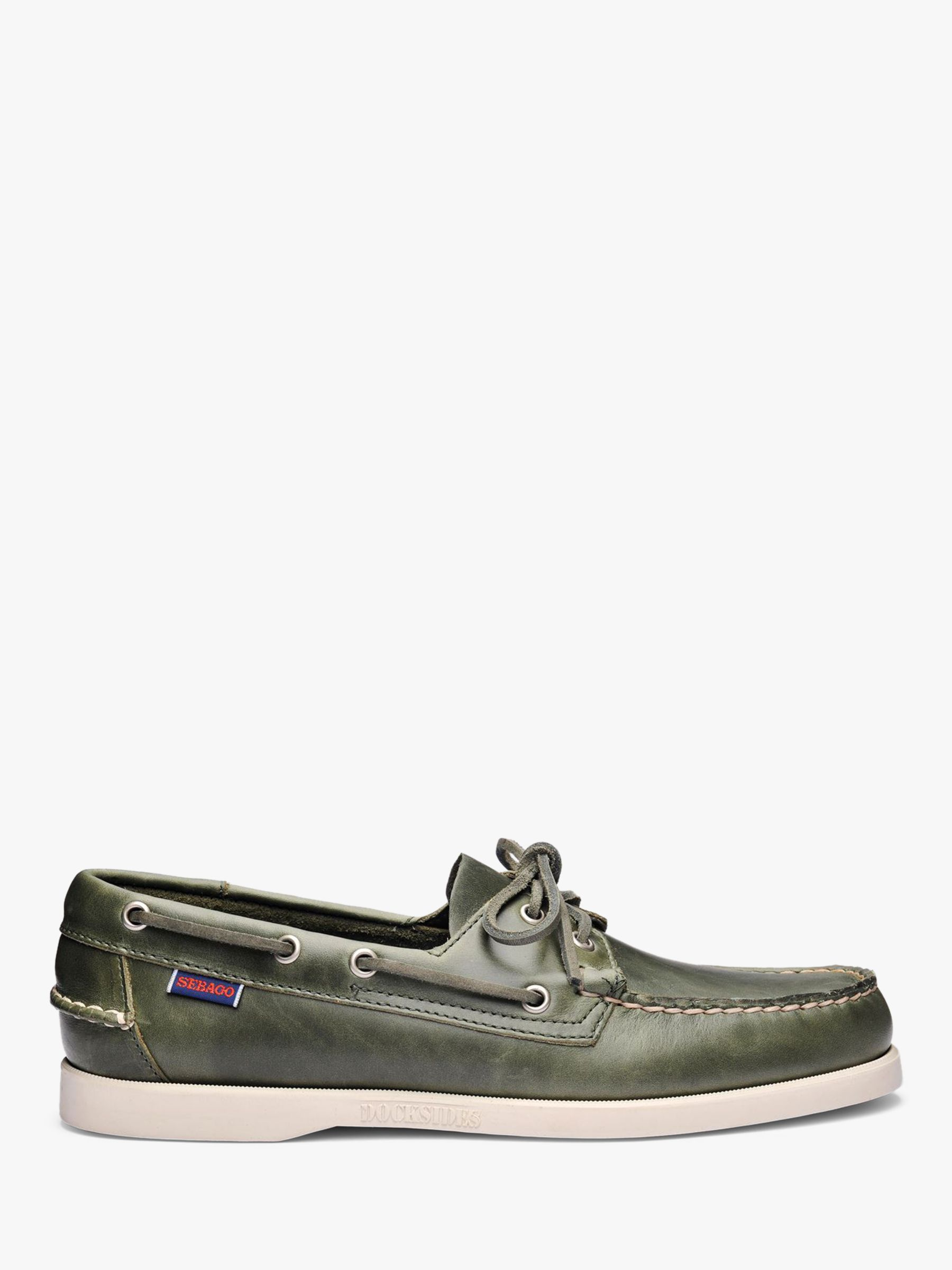 Sebago Sebago Dockside Portland Waxed Leather Boat Shoes, Green Military