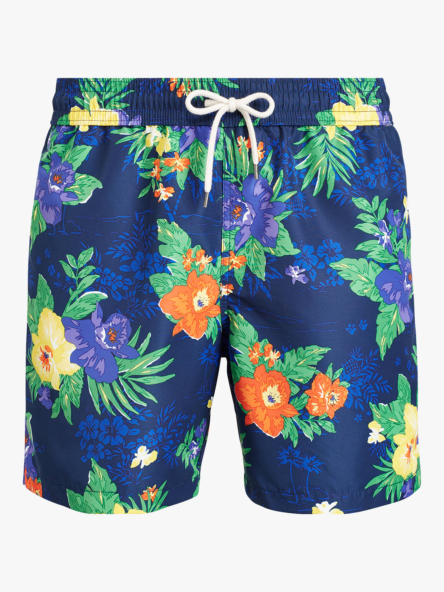 7ad0f47128 Buy Polo Ralph Lauren Tropical Flower Swim Shorts, Blue, S Online at  johnlewis.