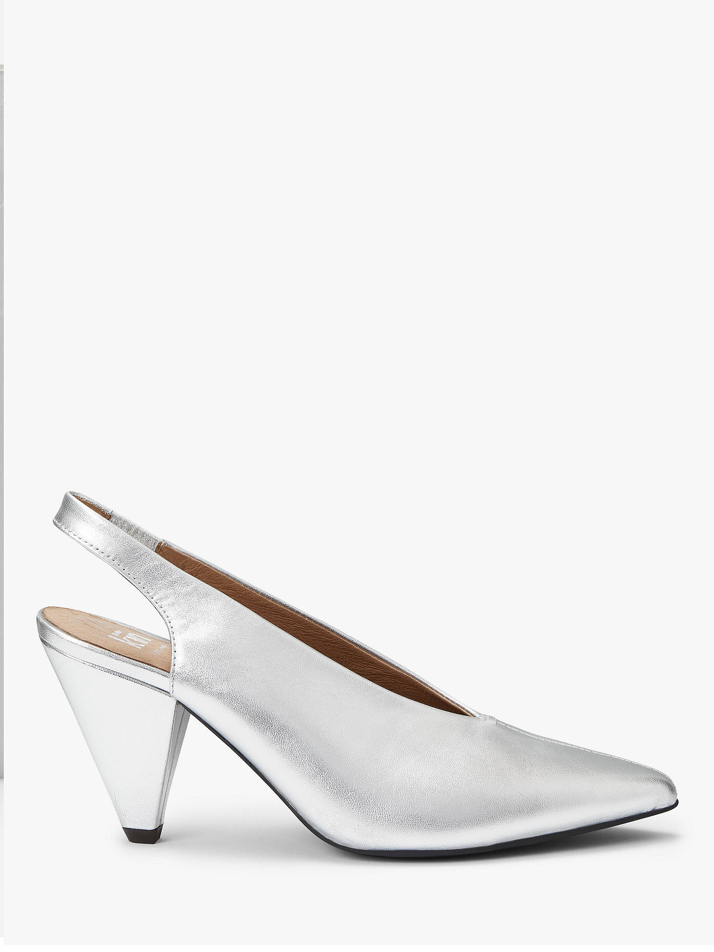 ccc4ec3eb9651 Kin Carina Cone Heel Slingback Court Shoes, Silver Leather