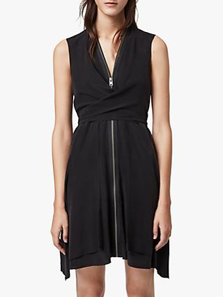 AllSaints Silk Jayda Dress, Black