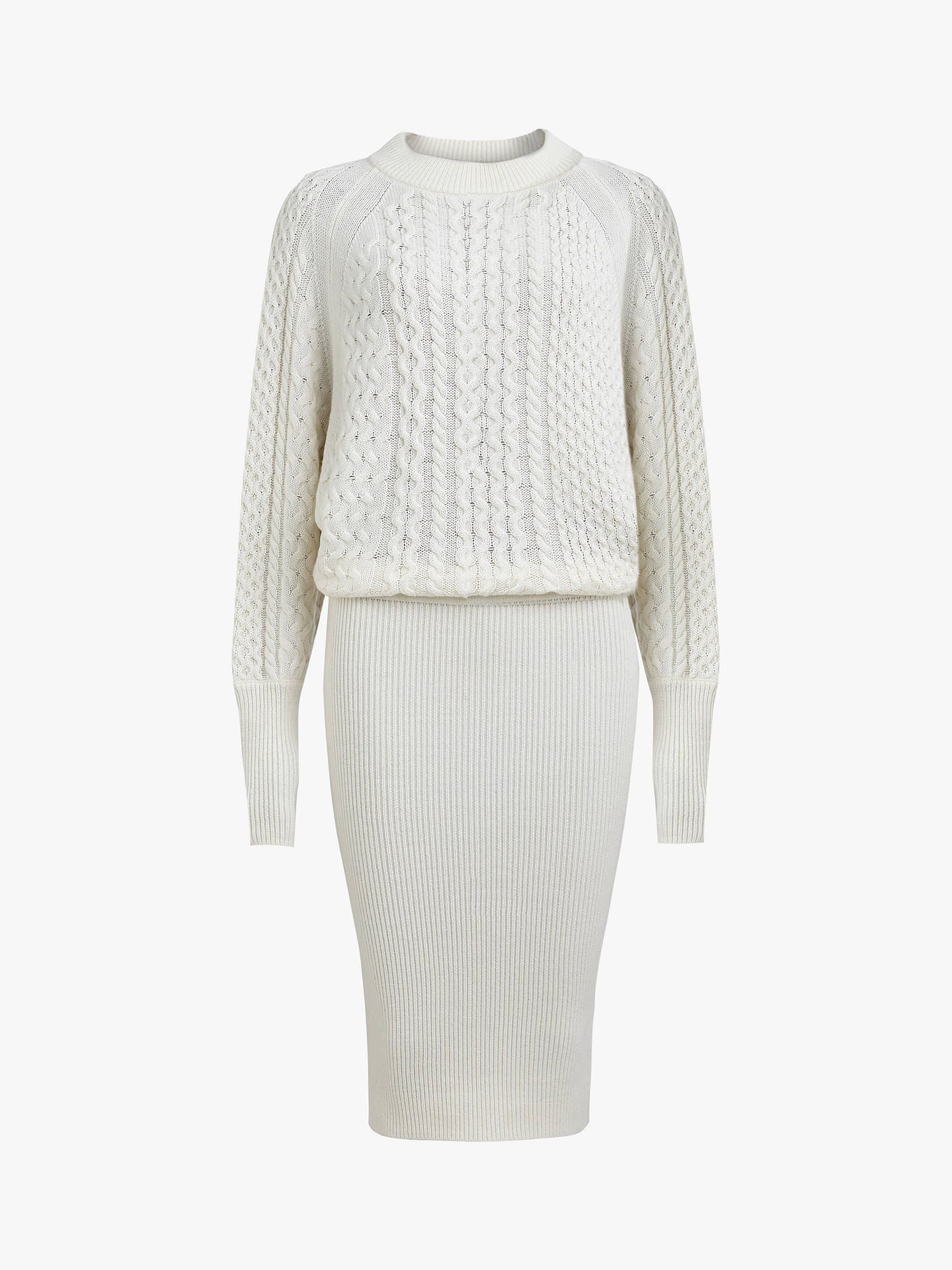 Buy AllSaints Dilone Knitted Dress, Chalk White, L Online at johnlewis.com