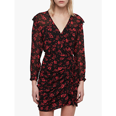 AllSaints Harlow Eira Dress, Black/Red