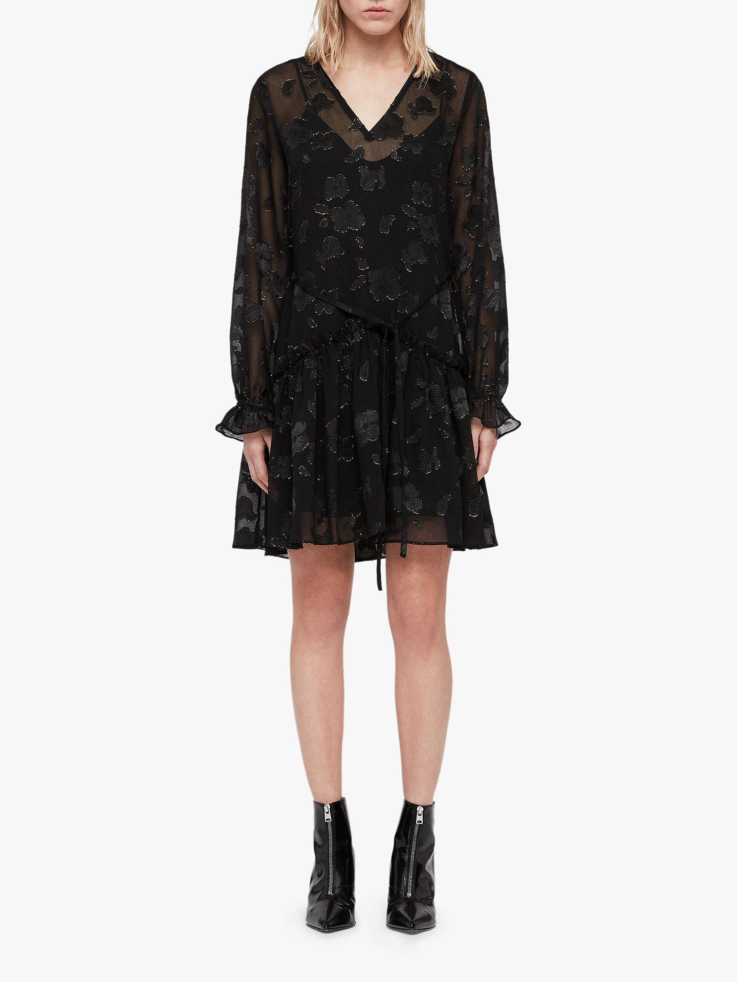 BuyAllSaints Alia Flora Dress, Black/Gold, L Online at johnlewis.com
