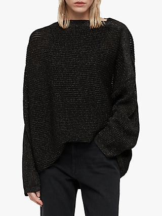 AllSaints Marcel Metallic Jumper, Black