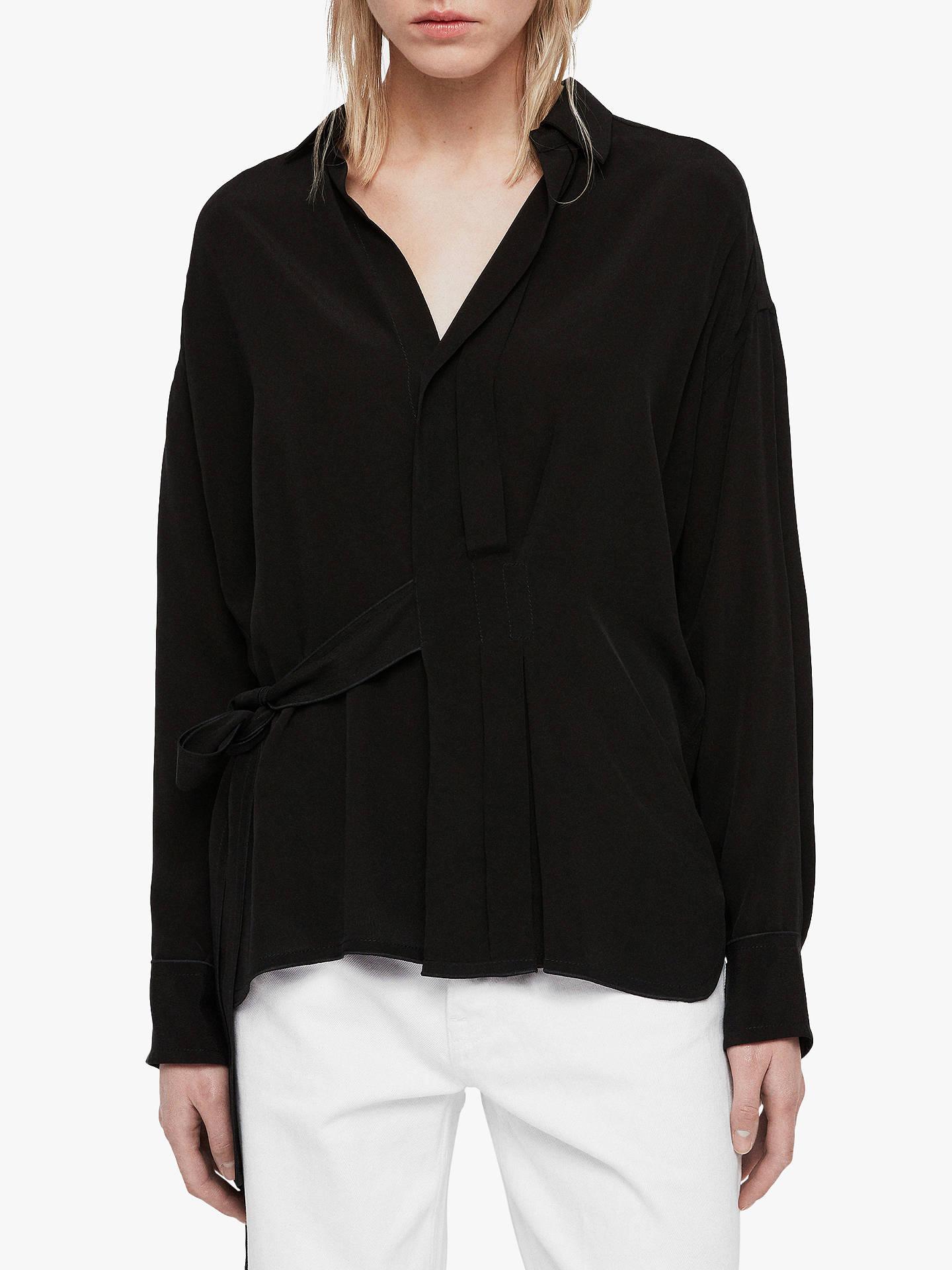 official photos caa36 46902 AllSaints Josi Shirt, Black at John Lewis & Partners