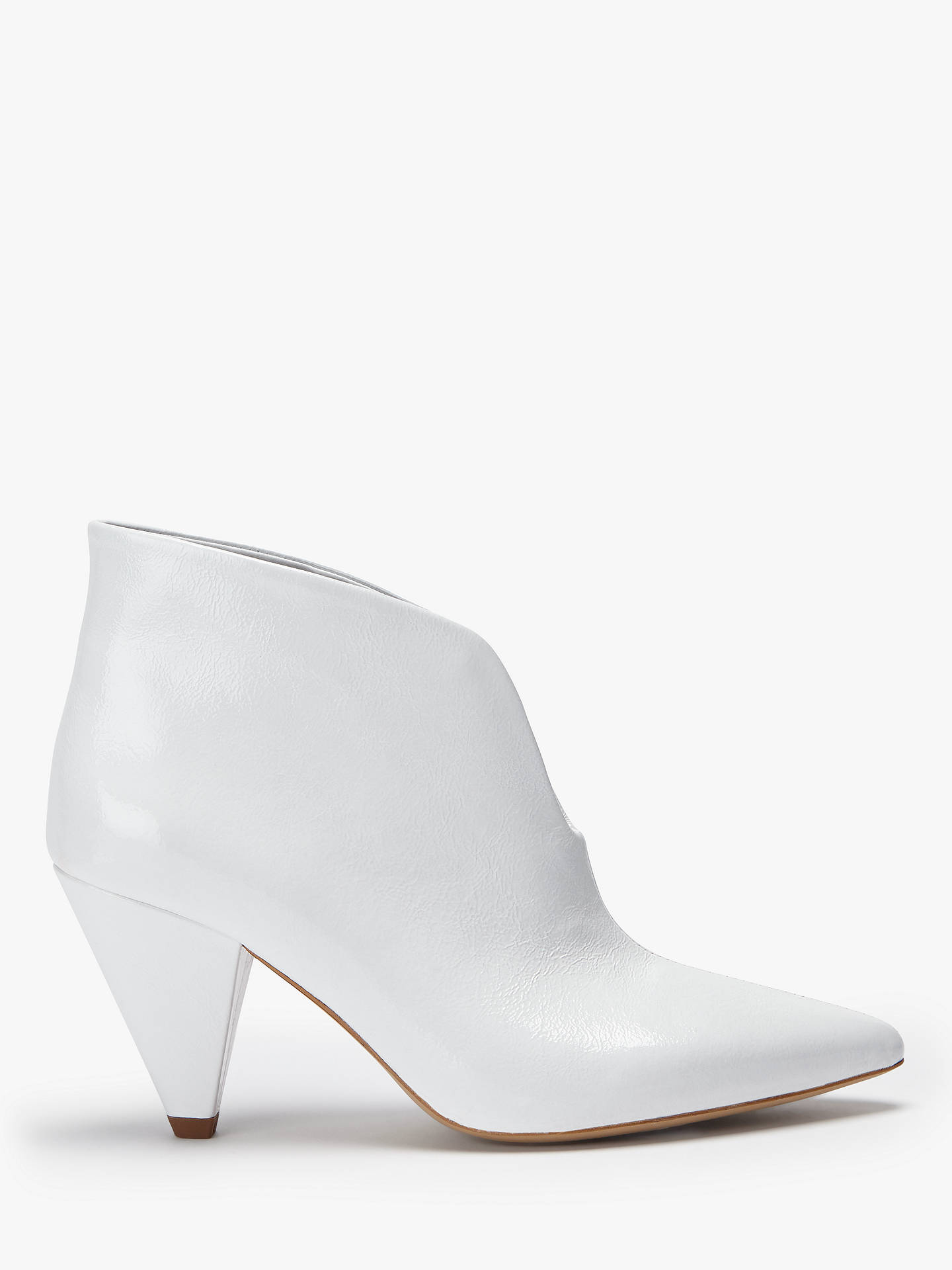 0a01fedd929 Kin Poppy Cone Heel Ankle Boots, White Patent Leather