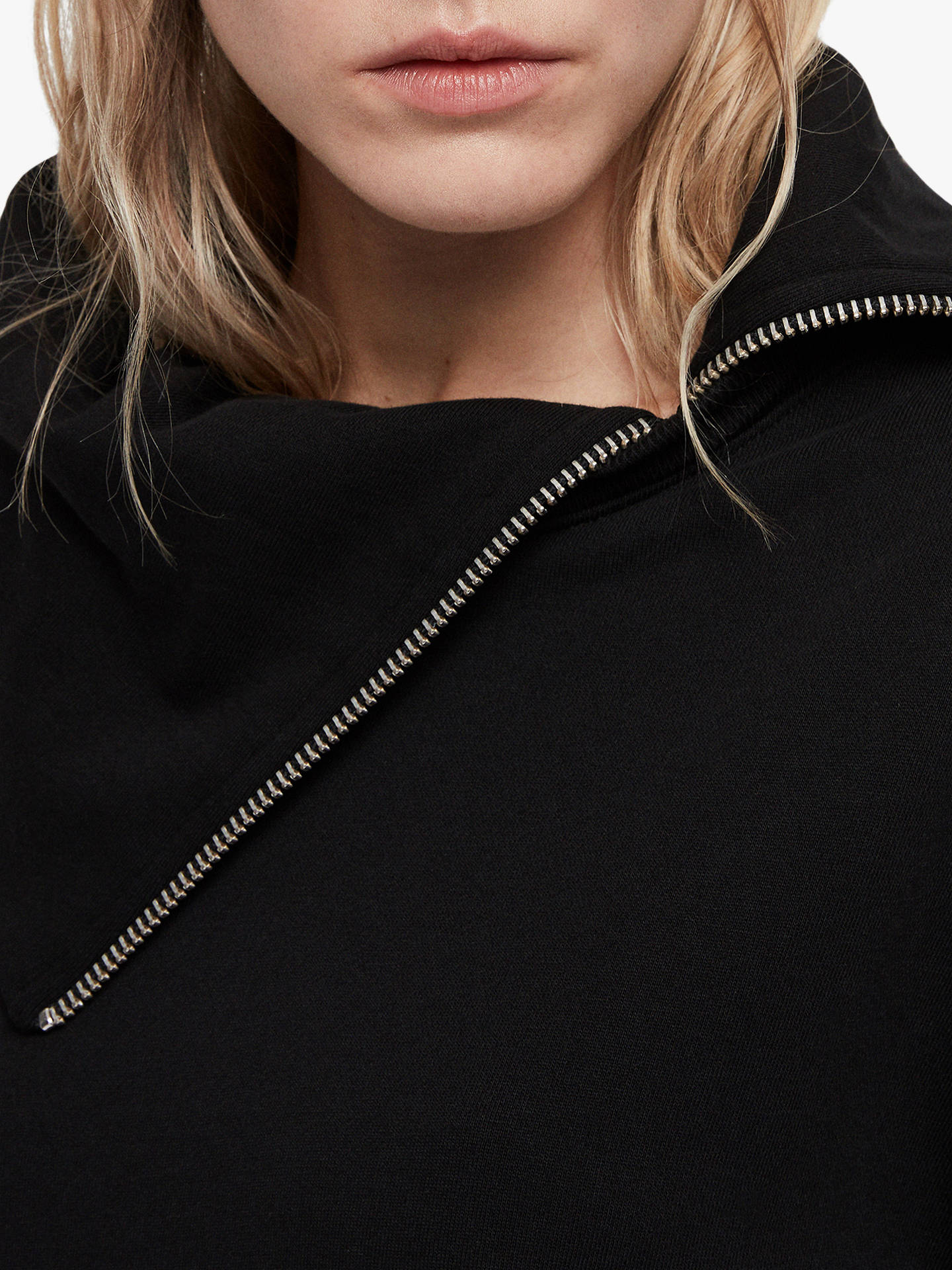 BuyAllSaints Bella Asymmetric Sweatshirt, Black, L Online at johnlewis.com