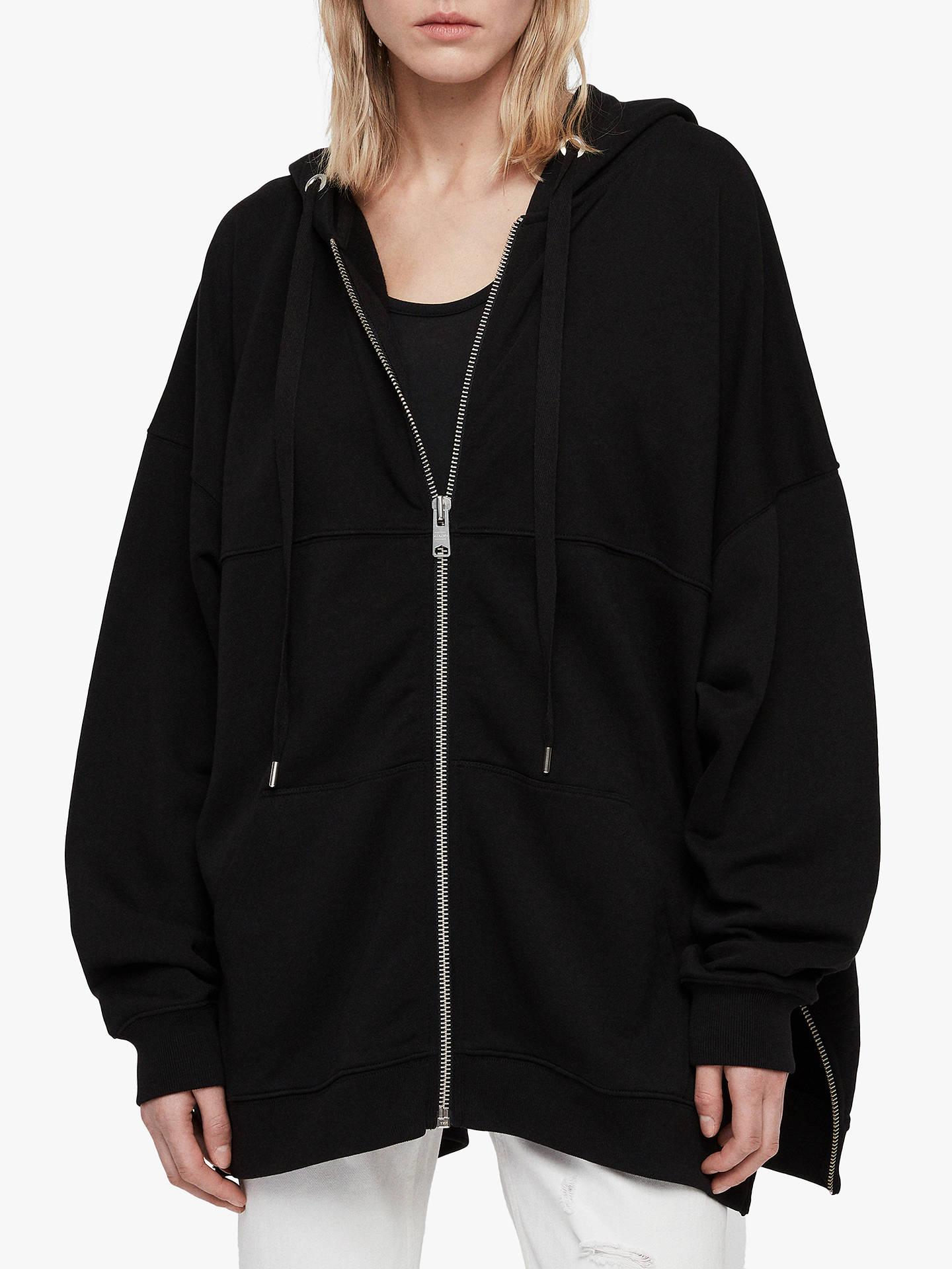 315060de Buy AllSaints Bella Oversized Zip Up Hoodie, Black, XS/S Online at  johnlewis ...