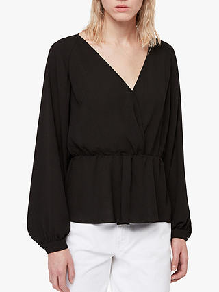 Buy AllSaints Lasia Peplum V-Neck Top, Black, XS Online at johnlewis.com